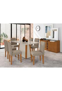 Conjunto De Mesa De Jantar Com Tampo De Vidro Jãºlia E 6 Cadeiras Ana Veludo Linho Off White E Cinza