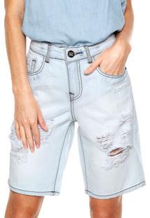 Bermuda Jeans Lez A Lez Desgastes Azul