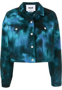 Msgm Jaqueta Jeans Cropped Tie Dye - Preto