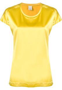Pinko Blusa Decote Arredondado - Amarelo
