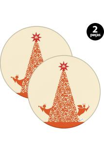 Capa Para Sousplat Mdecore Natal Arvore De Natal Bege 2Pçs