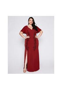 Vestido Almaria Plus Size Pianeta Longo Crepe Vinho