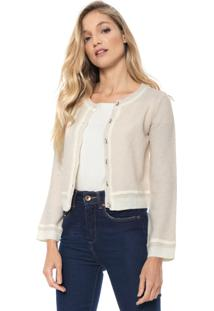 Cardigan Amber Tricot Cropped Bege