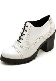 Oxford Top Franca Shoes Confort Feminino - Feminino-Branco