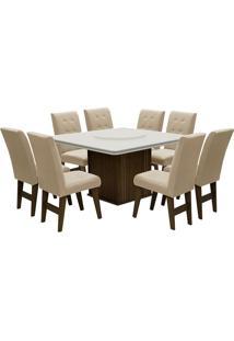 Conjunto De Mesa Para Sala De Jantar Com 8 Cadeiras Esparta-Dobue - Castanho / Branco Off / Bege