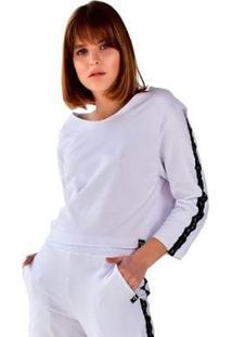 Blusa Cropped Moletom Manga Longa Brohood Feminina - Feminino-Branco