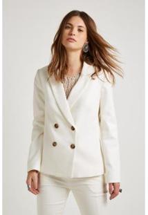 Blazer Alfaiataria Natural Botões Sacada Feminino - Feminino-Off White