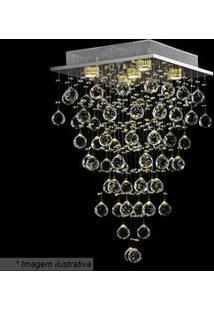 Hevvy Plafon Tyrell Quadrado Cristal 64X37Cm Bivolt
