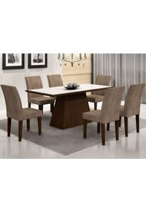 Conjunto Sala De Jantar Mesa Vidro Branco Luna 6 Cadeiras Grécia Castor/ Animale Chocolate
