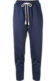 Mira Mikati Calça Com Fenda Na Barra - Azul