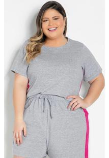 Blusa Mescla Com Recortes Laterais Plus Size
