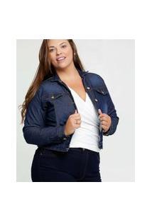Jaqueta Feminina Jeans Botões Plus Size Manga Longa