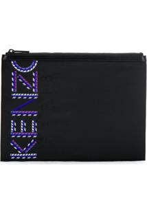 Kenzo Logo Embroidered Clutch Bag - Preto