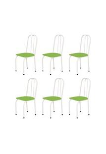 Kit 6 Cadeiras Baixas 0.101 Assento Reto Branco/Verde - Marcheli