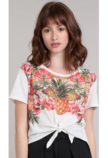 Blusa Feminina Cropped Estampada Floral Com Nó Manga Curta Decote Redondo Bege