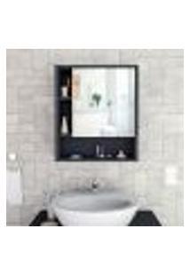 Armário De Banheiro Slim Com Espelho - Preto/Castanho