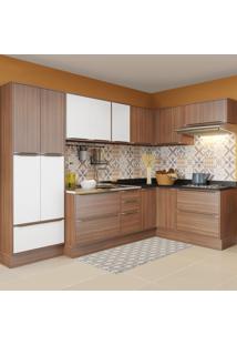 Cozinha Completa 16 Portas 4 Gavetas 5462R Nogueira/Branco - Multimóveis
