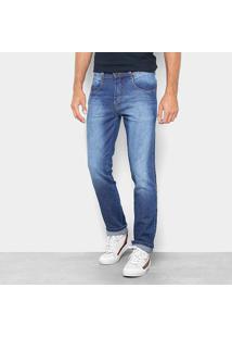 Calça Jeans Reta Biotipo Estonada Cintura Média Masculina - Masculino-Azul