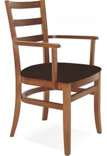 Cadeira Estofada Com Braços Paris Sofie Tramontina Amêndoa/Café
