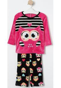 Pijama Coruja- Pink & Preto- Puketpuket