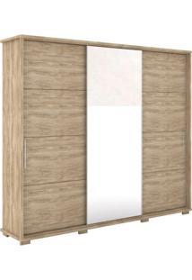 Guarda Roupa Casal 3 Portas Com Espelho New Fortuno Móveis Robel Cedro Madeirado
