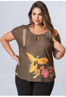 Blusa Almaria Plus Size Munny Estampada Decote Vaz