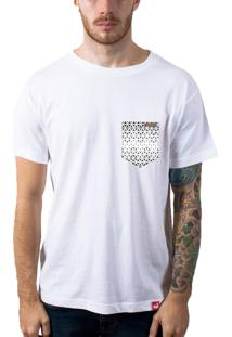 Camiseta Wevans Bolso Aplique Geométrico Branco