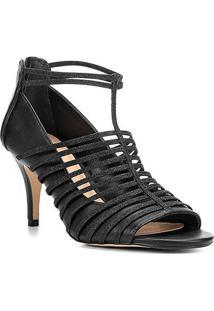 Sandália Shoestock Salto Fino Glitter Feminina - Feminino-Preto
