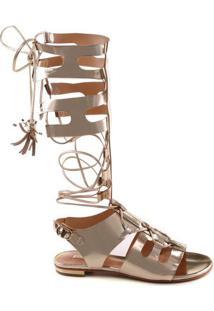 Sandália Gladiadora Metalizada Em Couro - Douradaschutz