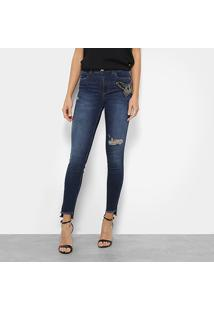 b4171c76a ... Calça Jeans Skinny Colcci Bia Bordada Manual Cintura Média Feminina -  Feminino-Azul
