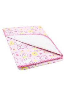 Cobertor Pequeno Bebê Feminino Rosa Gatinho - Bercinho - Tamanho Único - Rosa