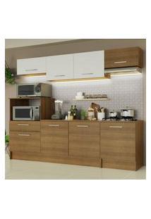 Cozinha Completa Madesa Onix 240002 Com Armário E Balcáo - Rustic/Branco 5Z6E Marrom