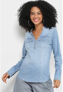Camisa Jeans Disparate Manga Longa Feminina - Feminino-Azul