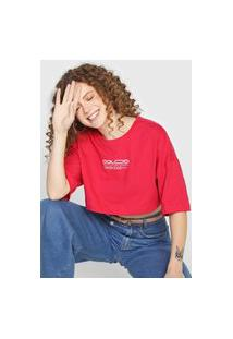 Camiseta Cropped Colcci Everyday Rosa