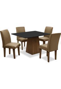 Conjunto De Mesa Para Sala De Jantar Com 4 Cadeiras Florença Fit-Dobue - Castanho / Preto / Castor