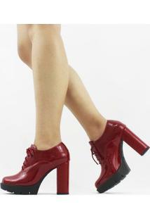 Ankle Boot Amy Verniz Feminino - Feminino-Vermelho