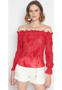 Blusa Ciganinha Com Transparência & Recortes- Vermelha