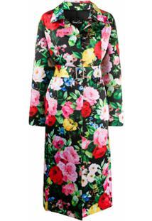 Richard Quinn Trench Coat Com Estampa Floral - Preto