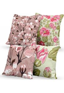Kit 4 Capas De Almofadas Decorativas Own Floral Rosa E Verde 45X45 - Somente Capa