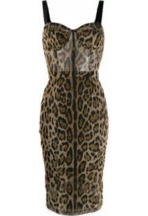 Dolce & Gabbana Vestido Slim Animal Print - Marrom