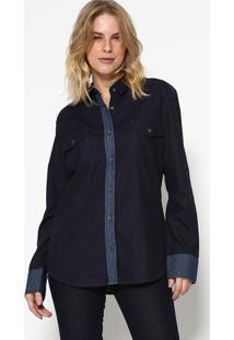 Camisa Jeans Com Bolsos - Azul Escuro- M. Officerm. Officer