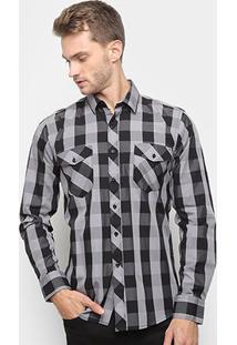 Camisa Xadrez Watkins & Krown Masculina - Masculino-Preto+Cinza