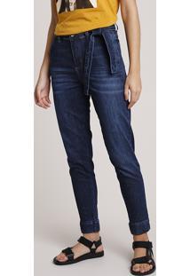 Calça Jeans Feminina Sawary Jogger Cintura Alta Com Faixa Para Amarrar Azul Escuro