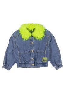 Jaqueta Ml Gola Pelo Verde Jeans Animê 3 Azul