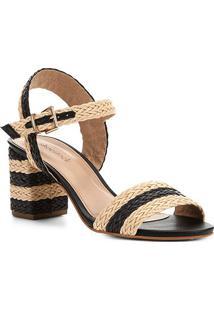Sandália Shoestock Trança Salto Bloco Feminina - Feminino-Preto