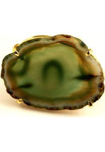 Anel Chapa Pedra Ágata Verde Twik