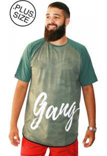 Camiseta Gangster Plus Size Long Line Camuflada Verde