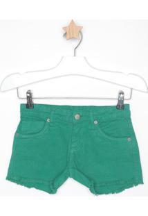 Short Liso Em Sarja - Verde - Mandimandi