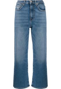 7 For All Mankind Calça Jeans Reta Cropped - Azul