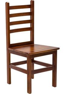 Cadeira Fixa De Madeira Maciça Com Encosto Anatômico Verniz Mel